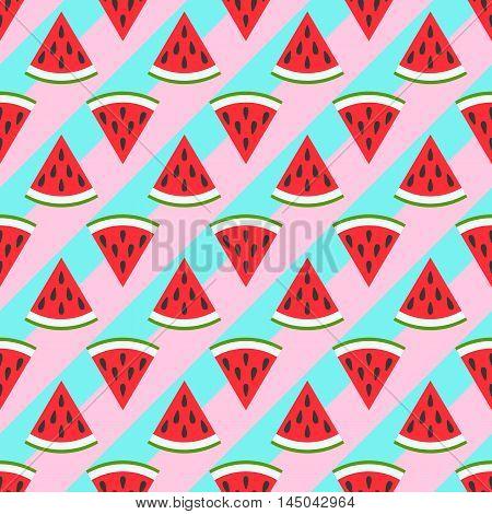 Cute seamless watermelon pattern on green background. Vector illustration for sweet summer fruit design. Slice fresh food ornament. Pretty repeat wallpaper. Bright tasty cartoon decoration