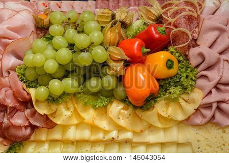 decorative and varied designed cold buffet - health