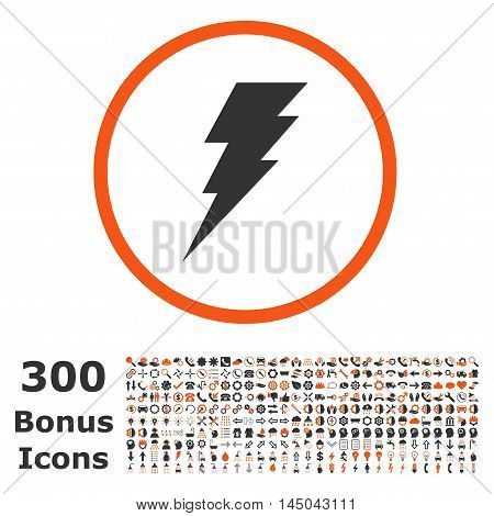 Execute rounded icon with 300 bonus icons. Vector illustration style is flat iconic bicolor symbols, orange and gray colors, white background.
