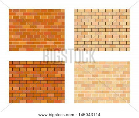 Collection of bricks different color on white  background.  Vector illustration with various types of masonry.  Horizontal location.
