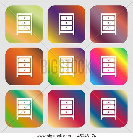 Nightstand Icon Sign . Nine Buttons With Bright Gradients For Beautiful Design. Vector