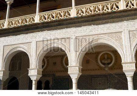 Courtyard in the palace of Pilatos, Seville, Andalucia, Spain
