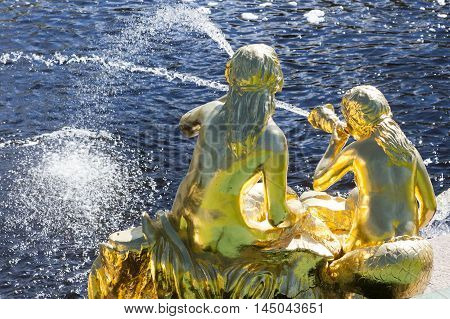 St. Petersburg, Russia-28 Of August, 2016. Fountains Of The Big Cascade In Peterhof.