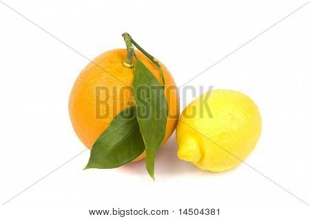 Fresh and ripe orange and lemon. Healthy fruit rich in vitamin C