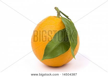 Fresh and ripe orange fruit with two green leaves. Healthy fruit rich in vitamin C
