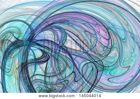 Abstract color lines on white background. Fantasy pink black and blue fractal design for posters postcards or t-shirts. Digital art. 3D rendering.