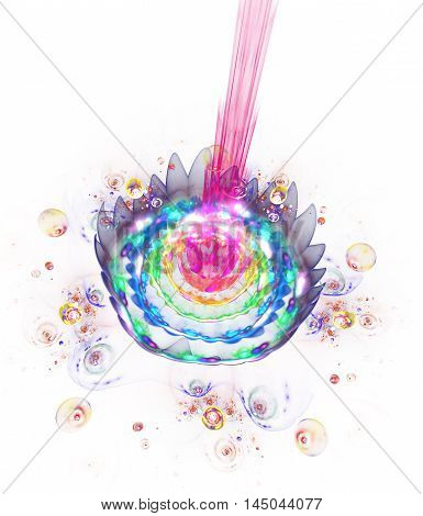 Abstract glowing rainbow flower on white background. Fantasy composition in pink blue green and yellow colors. Fractal design for posters wallpapers or t-shirts. Digital art. 3D rendering.