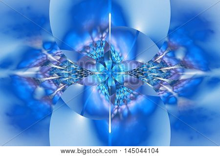 Abstract glowing colorful blue flower on white background. Fantasy fractal design for posters wallpapers postcards or t-shirts. Digital art. 3D rendering.