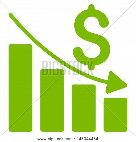 Sales Crisis Chart icon. Vector style is flat iconic symbol with rounded angles, eco green color, white background.