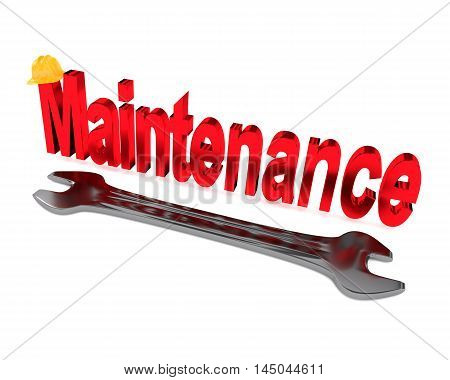 Maintenance concept image on white 3d rendering