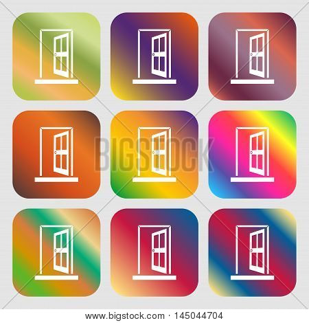 Door, Enter Or Exit Icon Sign . Nine Buttons With Bright Gradients For Beautiful Design. Vector