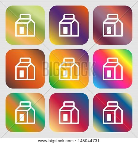 Milk, Juice, Beverages, Carton Package Icon. Nine Buttons With Bright Gradients For Beautiful Design