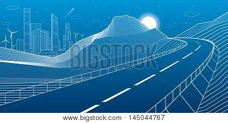 Highway in mountains, night scene, neon city and business buildings on background, , white lines landscape, vector design art