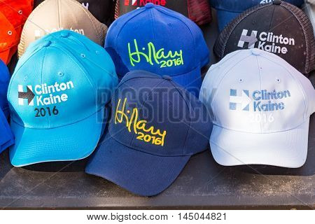 Lancaster PA - August 30 2016: Hillary Clinton 2016 Campaign Hats for sale at a rally for Virginia Senator Tim Kaine.