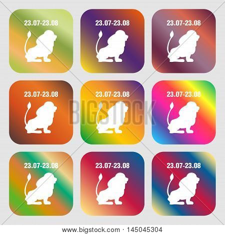 Leo Zodiac Sign Icon . Nine Buttons With Bright Gradients For Beautiful Design. Vector