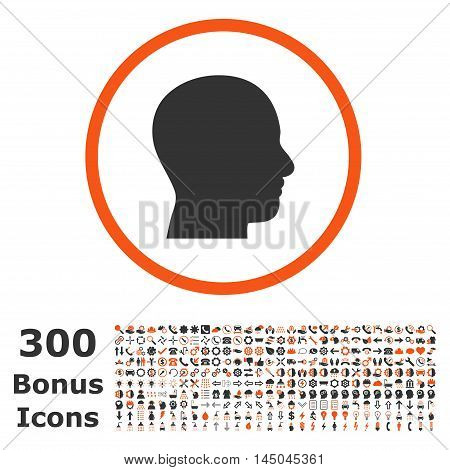 Head Profile rounded icon with 300 bonus icons. Vector illustration style is flat iconic bicolor symbols, orange and gray colors, white background.
