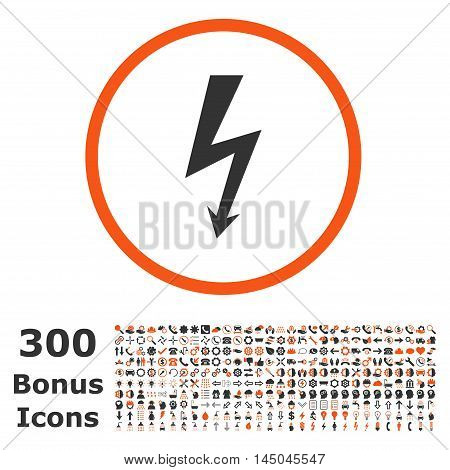 High Voltage rounded icon with 300 bonus icons. Vector illustration style is flat iconic bicolor symbols, orange and gray colors, white background.