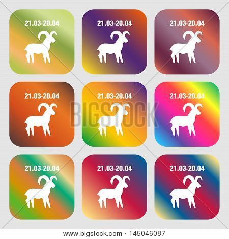 Decorative Zodiac Aries Sign Icon . Nine Buttons With Bright Gradients For Beautiful Design. Vector