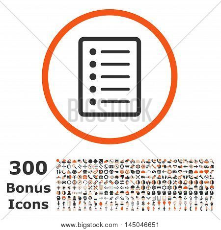List Page rounded icon with 300 bonus icons. Vector illustration style is flat iconic bicolor symbols, orange and gray colors, white background.