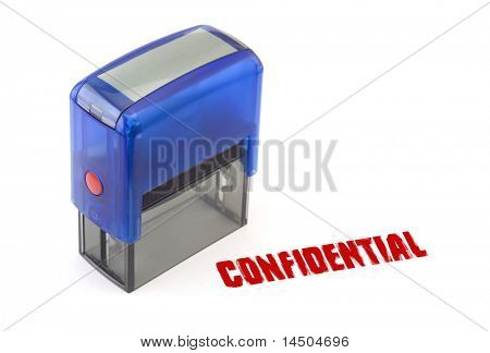 "Blue modern self-ink rubber stamp with red "" Confidential "" stamp"