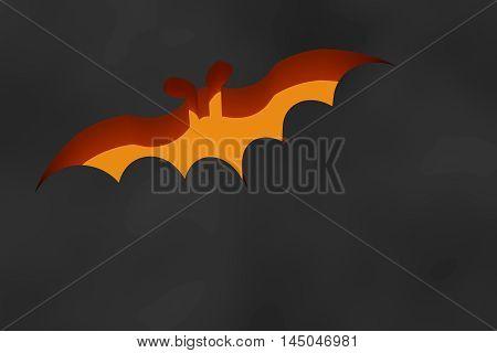 Orange Bat Flying On Black Background