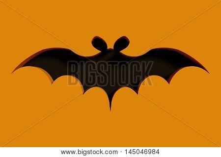 Flying Bat On Orange Background