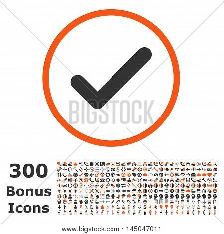 Ok rounded icon with 300 bonus icons. Vector illustration style is flat iconic bicolor symbols, orange and gray colors, white background.