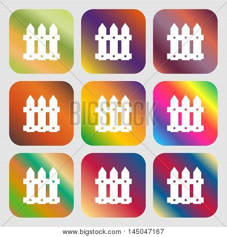 Fence Icon Sign . Nine Buttons With Bright Gradients For Beautiful Design. Vector