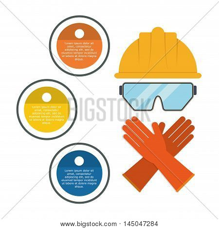 infographic helmet glasses gloves industrial security safety protection icon set. Colorful and flat design. Vector illustration