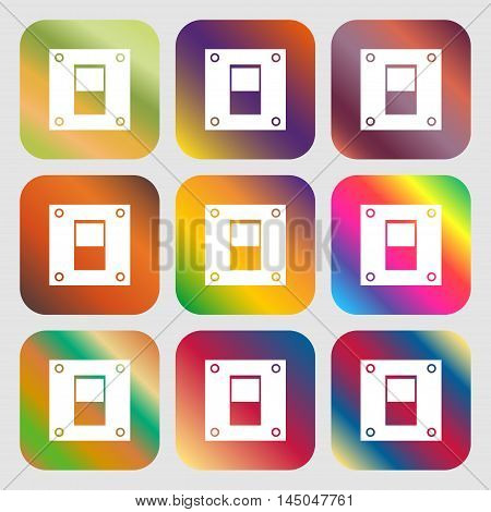 Power Switch Icon Sign . Nine Buttons With Bright Gradients For Beautiful Design. Vector