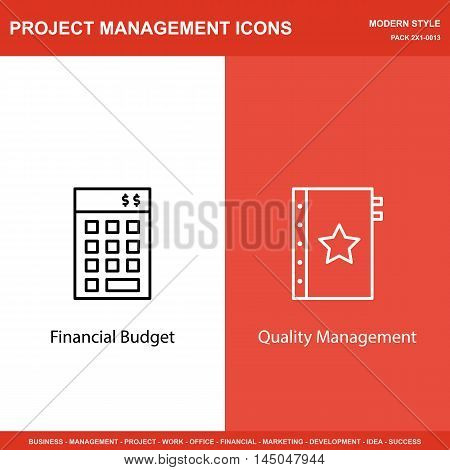 Set Of Project Management Icons On Investment And Quality Management. Project Management Icons Can B