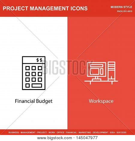 Set Of Project Management Icons On Investment And Workspace. Project Management Icons Can Be Used Fo