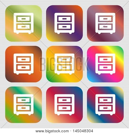 Nightstand Icon. Nine Buttons With Bright Gradients For Beautiful Design. Vector