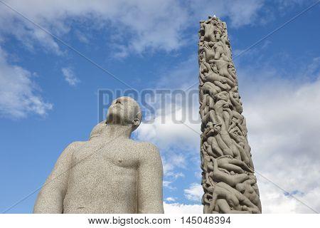 Norway Oslo. Vigeland park stone sculptures. Travel tourism. Horizontal