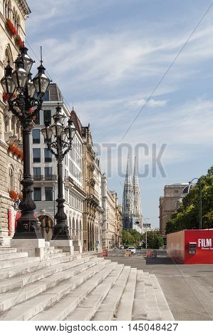Vienna / Austria - July 20th 2014: Vienna street view with City Hall towers in the far right side during 2014-th film festival