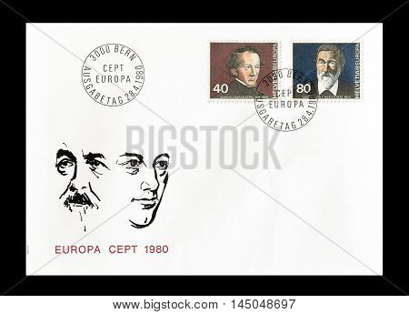 SWITZERLAND -CIRCA 1980 : Cancelled First Day Cover letter printed by Switzerland, that shows Europa CEPT stamps.