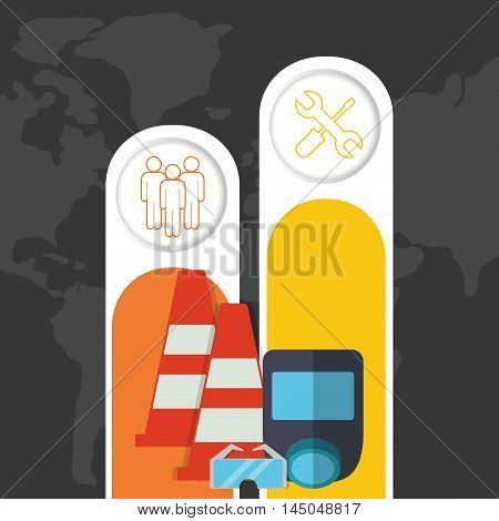 infographic cone glasses mask industrial security safety protection icon set. Colorful and flat design. Vector illustration
