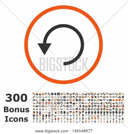 Rotate Ccw rounded icon with 300 bonus icons. Vector illustration style is flat iconic bicolor symbols, orange and gray colors, white background.