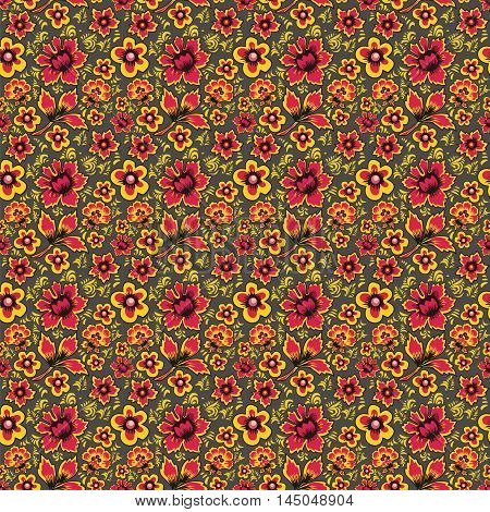 Russian folk art Khokhloma. Abstract flowers on a gray background