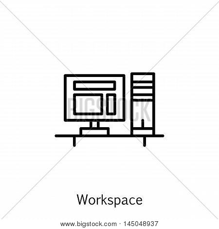 Vector Illustration Of Project Management Icon On Workspace And Pc In Trendy Flat Style. Project Man