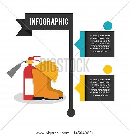 infographic extinguisher boot helmet industrial security safety protection icon set. Colorful and flat design. Vector illustration