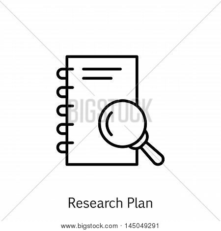 Vector Illustration Of Project Management Icon On Research, Note, Magnifying And Plan In Trendy Flat