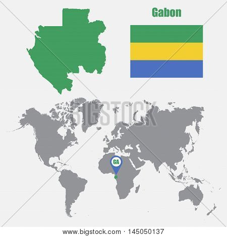 Gabon map on a world map with flag and map pointer. Vector illustration
