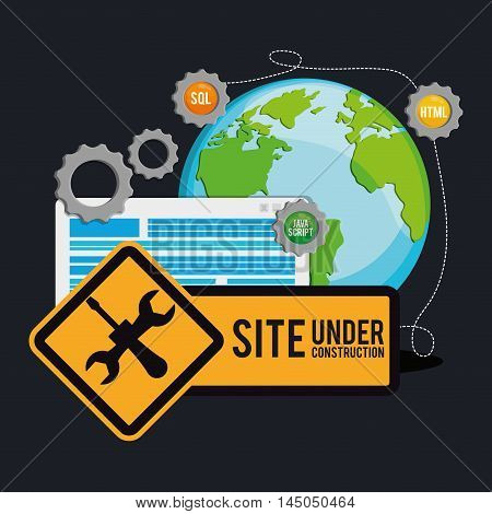 under construction tools road sign gears planet site web online digital icon set. Colorful and flat design. Vector illustration