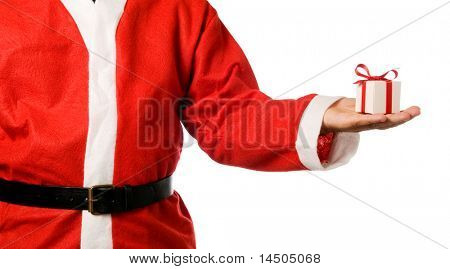 Santa Claus holding a gift on his hand isolated on white background.