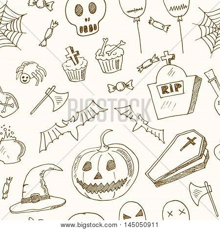 Happy Halloween seamless pattern Trick or Treat Doodles. Hand Drawn Holiday Design Vector Illustration