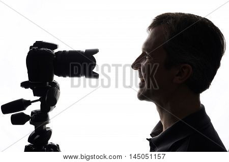 Slr Camera Shooting Portraits Isolated On White