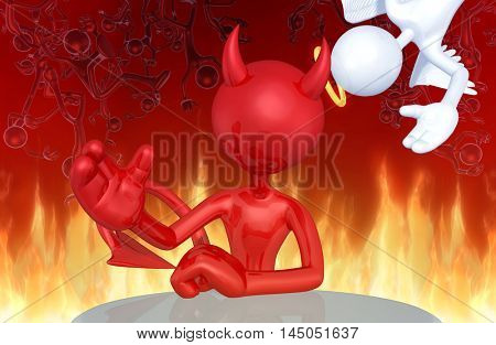Angel Character Photobombing Devil Character 3D Illustration