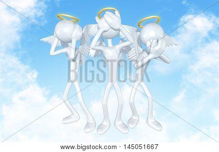 Angel Characters Hear No Evil See No Evil Speak No Evil 3D Illustration