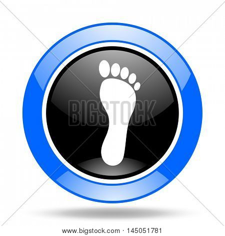 foot round glossy blue and black web icon